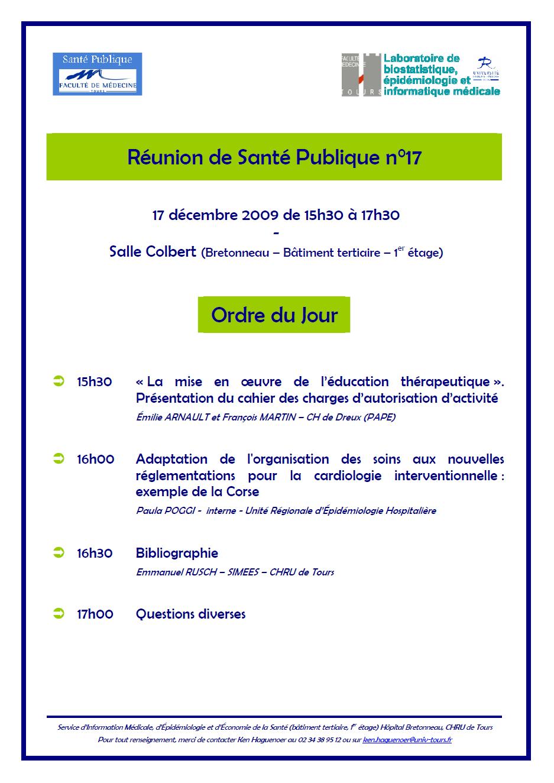 Réunions de santé publique 2009 - Laboratoire de santé publique et de promotion de la santé de Tours